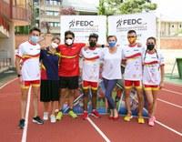 Coral Bistuer con los atletas FEDC Alba García, Edu Uceda, Sara Martínez y Álvaro del Amo