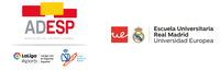 Logos ADESP, y Escuela Universitaria Real Madrid